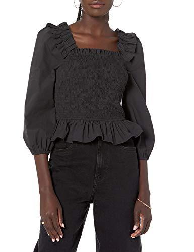 The Drop Women's Marisol Long Sleeve Ruffle Smocked Cropped Top