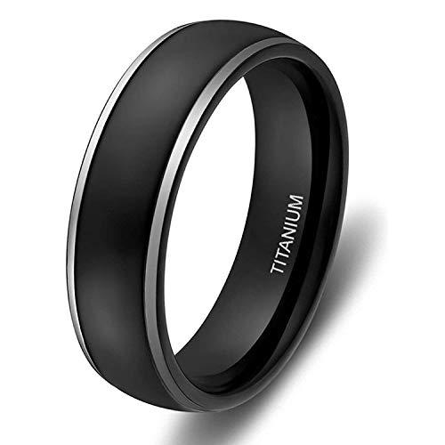 Ed Shine Herren Damen 4mm 6mm Titanringe Verlobungsringe Trauringe Matte Schwarz mit Polierte Kante(6mm-Black, 63 (20.1))