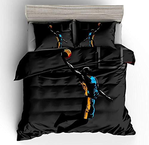 ENLAZY 3D Basketball Bettwäsche Set Bettwäsche Tröster Sets 3 Stück Basketball Tröster Set voller Größe mit 2 Kissenbezügen 3D gedruckt für Jugendliche ich,I,Double(155 * 220CM)