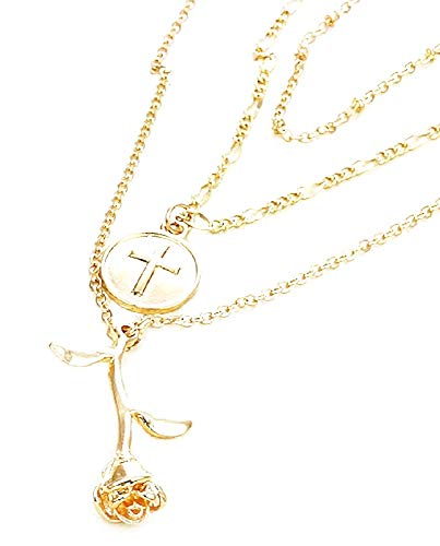 Belle en het beest ketting - kruisbeeld - kruis - multilayer - roze - 3 draden - multiwire - meisje - vrouw - kerstmis - origineel cadeau idee - kostuum juwelen - verjaardag - goud - sieraden