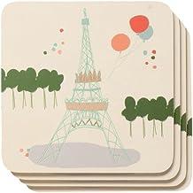 Now Designs Cork Backed Coasters, Bonjour Paris, Set of 4