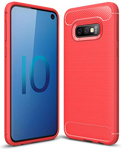 Galaxy S10E Case,Samsung S10E Case, Ucc Frosted Shield Luxury Slim TPU Bumper Cover Carbon Fiber Design Only Compatible for Samsung Galaxy S10E Phone(Red)