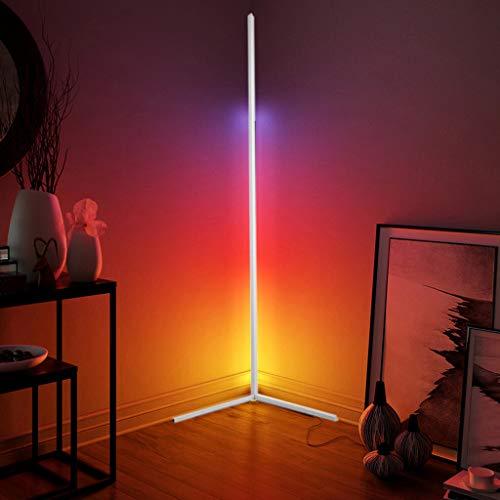 QJUZO LED Lámpara Pie Salon RGB Regulable Con Control Remoto, Moderna Luz de Esquina Dormitorio Lámpara de Lectura Para Estudio,Restaurante,Habitación de Niños, Luz Ambiental Vistoso,Blanco,140CM