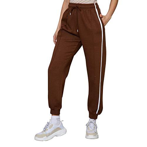 MUYOGRT Damen Jogginghose Sporthose Fitnesshose Sweathose High Waist Baumwolle für Jogging Laufen Fitness Traininghose mit Streifen Hose(Schokoladenfarbe ,S)