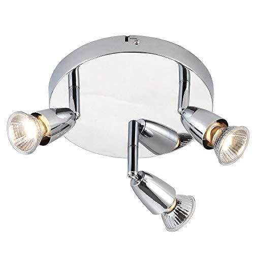 3X 50W GU10 | Modern justerbar trippel 3X lampa taklampa | Kromplatta | Rund köksö bänkskiva/butik kommersiell dunlampa | rörligt huvud lutning och roterande huvud | LED & dimbar