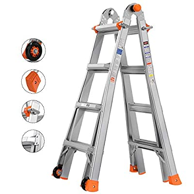 Multi-Use Ladder, Tacklife 17 Feet Extension Ladder, Telescoping Extension Ladder with Flexible Wheels, Safe Protective Switch, Non-Slip Rubber Feet, 300-Pound Duty Rating