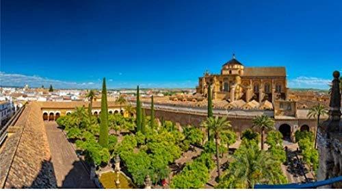 NOBRAND Rompecabezas De 1000 Piezas Vista Panorámica sobre El Jardín De La Mezquita En Córdoba España Puzzle DIY Art