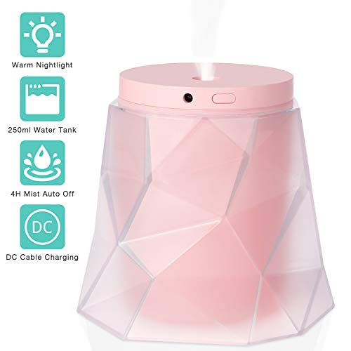 Product Image of the Ultrasonic Cool Mist Humidifier, Portable Detachable Air Humidifiers for Bedroom, USB Powered, Whisper-Quiet, Timer Setting, and Night Light for Kids Adults - Pink