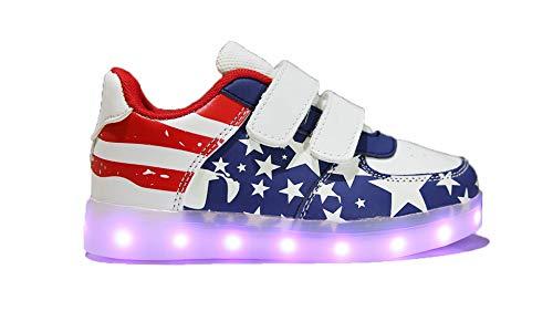 Mapleaf LED Scarpe da Ginnastica Bambina Scarpe Ragazza Scarpe Ragazzo Sneakers Donna Scarpe Lampeggiante LED Uomo Scarpe con Luci Bambino Scarpe da Donna Ginnastica Sportive USA Blue Taglia 35