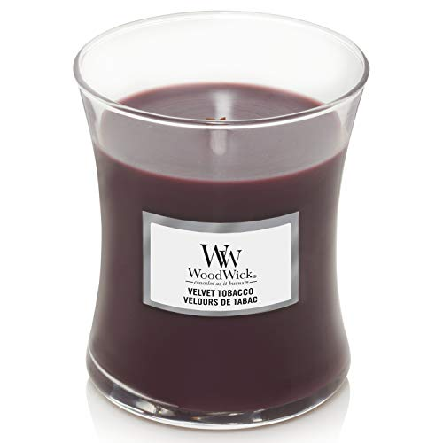 WoodWick Medium Hourglass Scented Candle with Crackling Wick | Velvet Tobacco | Up to 60 Hours Burn Time