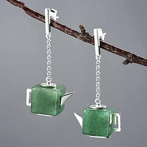 YUANYIRAN Women'S Studs Earrings - Women Vintage Square Teapot Dangle Drop Earrings, Natural Aventurine Gemstone Fine Jewelry, Gift For Christmas Party Wedding Gift