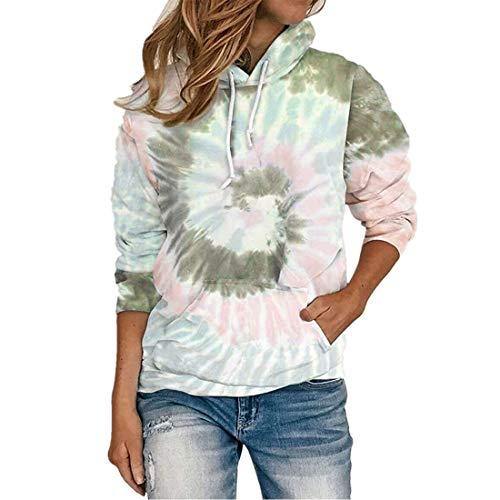 ZGRNPA Damskie batikowe bluzy z kapturem bluzy pulower swetry dresy topy dla kobiet dziewcząt bluzy z kapturem topy z kolorowym nadrukiem bluzy z kieszeniami damska krawat barwnik bluza z kapturem, A-khaki, 5XL