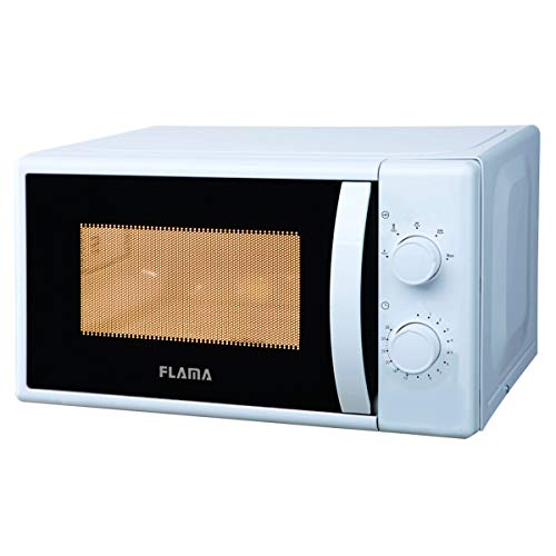 Flama Microondas Blanco 1824FL, 700W, Capacidad de 20L, 5 Programas Automáticos, Sencillo y Compacto, Control Manual, Fácil de Abrir