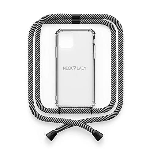 NECKLACY® - The Phone Necklace - Cadena para iPhone 12 Pro Max In Glow in The Dark   Funda transparente con cordón de alta calidad para colgar - Funda cruzada para smartphone