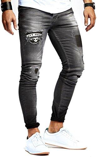 Leif Nelson Herren Jeans Hose Jeanshose Stretch Schwarz Freizeithose Denim Slim Fit LN9940SC; W30L32, Schwarz