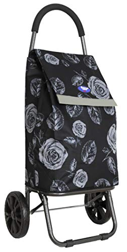 Classic Shopping Trolley (Black with Roses)