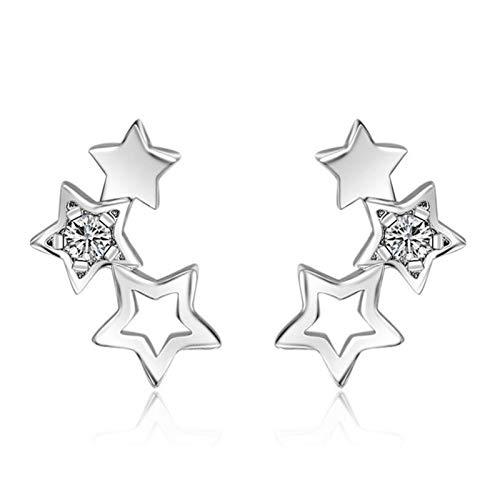 WanXingY 925 Sterling Silver Hollow Star Pendientes de Moda Simple Pendientes de Zircon Cubic Damas Pendientes de Moda