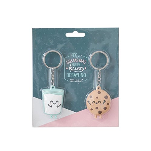 Mr. Wonderful Set de 2 llaveros Mr.Wonderful Galleta y Vaso parejasque Son ¡la Leche, Caucho, Multicolor, 5 X 5 X 1 Cm
