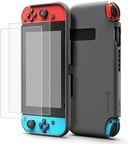 tomtoc estuche protector para Nintendo Switch, estuche de silicona líquida con soporte de interruptor de soporte de protector de pantalla [2PCS] y cubierta de agarre desmontable Joy-Con