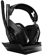 ASTRO Gaming A50, Wireless Gaming-Headset mit Ladestation, Gen 4, Dolby Audio, Game/Voice Balance Control, 2,4 GHz Kabellos, 9m range für PS5, PS4, PC, Mac - Schwarz/Silber