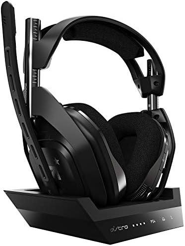 ASTRO Gaming A50 Casque sans fil + Station de Charge Gamer, 4ème Génération, Dolby, Équilibre entre son des Jeux et Voix, Connexion sans Fil 2,4 GHz, Compatible avec PS5, PS4, PC, Mac - Noir/Argent
