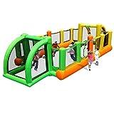 Castillos hinchables for niños Campo de fútbol for niños trampolín Cuadrado al Aire Libre Playhouses (Color : Green, Size : 335 * 800 * 180cm)