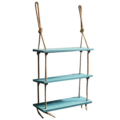Wall Decoration Frame, Hemp Rope Storage Rack, Wall Hanging Pendant Shelf Industrial Style (Color : Green)