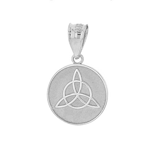 Dainty 10k White Gold Irish Infinity Circle Celtic Trinity Knot Disc Pendant