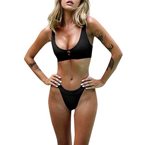Traje de baño de Mujer, RETUROM Sujetador Push-Up Acolchado con Botones, Conjunto de Bikini de Playa, Traje de baño