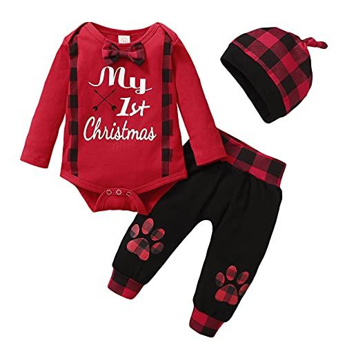 Conjunto de trajes de Navidad para recién nacidos y niñas, con diseño de mameluco de algodón, 3 unidades, Negro, 0-6 Meses