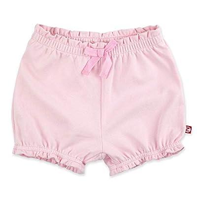 Zutano Baby Girl Organic Cotton Ruffle Shorts, Baby Pink Solid, 24M