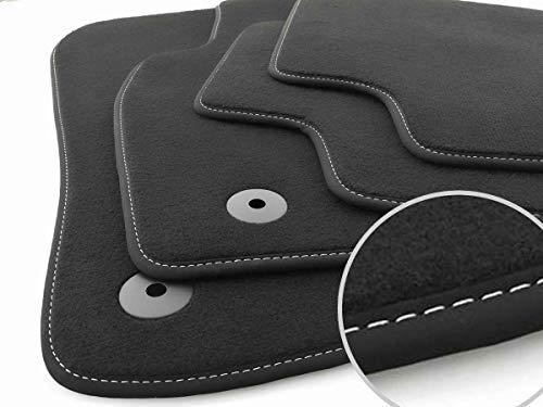 kh Teile Fußmatten passend für Golf 7 (Ziernaht: Weiß) Velours Auto Matten Set, 4-teilig, Schwarz