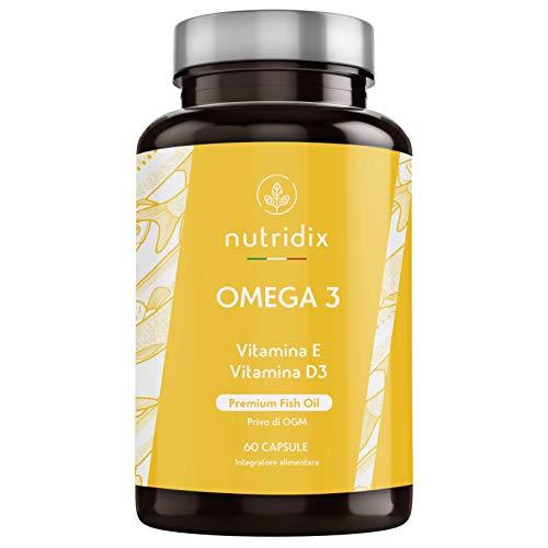 Omega 3 Olio di Pesce Premium | 900 mg EPA e 350 mg DHA per dose | 60 Capsule ad Alta Concentrazione di Vitamine E e D3 | Prodotto da Nutridix