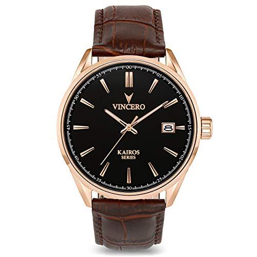 Vincero Kairos Herren Armbanduhr - Roségold mit braunem Lederarmband - 42 mm Analoguhr - Japanisches Quarz Uhrwerk