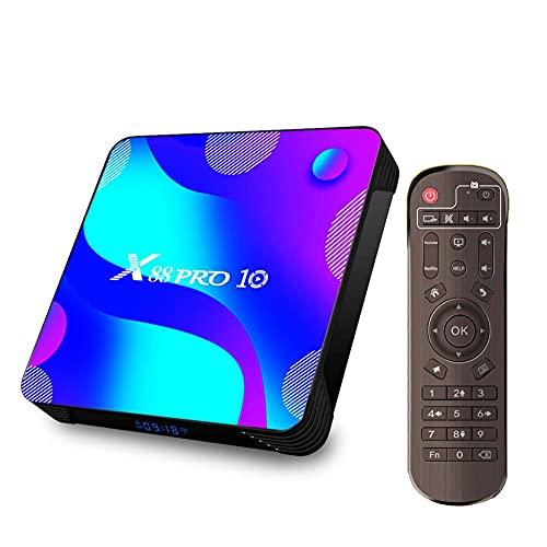 SSRSHDZW Caja de TV Android 10.0 TV Caja de TV 4GB RAM / 32GB ROM Soporte de cuádruple de Cuatro núcleos 2.4GHz / 5.0GHz WiFi 100M Ethernet 4K HDMI Network TV Set-Top Caja,4gb+128gb