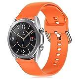 RIOROO 20mm Correa Compatible para Samsung Galaxy Watch 3 41mm / Active / Active 2 40mm 44mm Correa Mujer Hombre Sport Silicona Band Naranja, Accesorios (sin Reloj), S