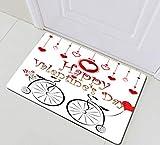 SHUHUI Estera de Corazones Colgantes de Bicicleta de Bosquejo de San Valentín