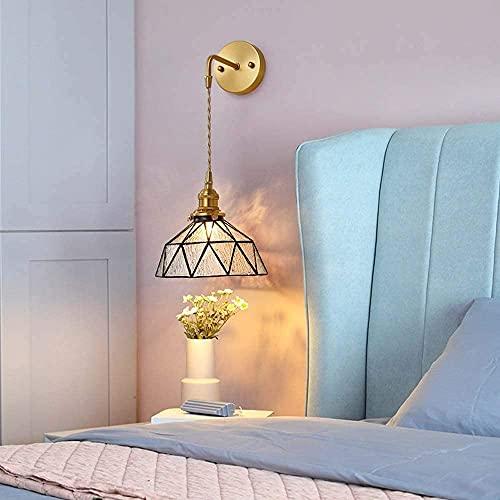 BUSUANZI Lámpara de Pared Retro Personalizada de Cobre de Cobre nórdico, lámpara de Pared de vestíbulo, vestíbulo de Entrada,alojamiento Transparente, diámetro de iluminación de Color: 20 cm