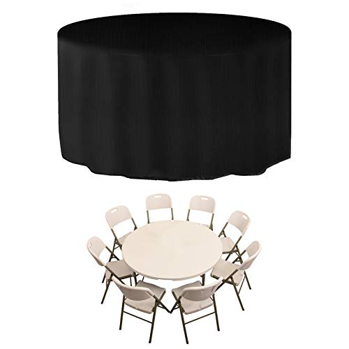 JESTOP Copertura per mobili da giardino 600D, rotonda, con cinghia laterale, impermeabile, antivento, resistente ai raggi UV, per tavolo da giardino, set di mobili (nero, 250 x 71 cm)