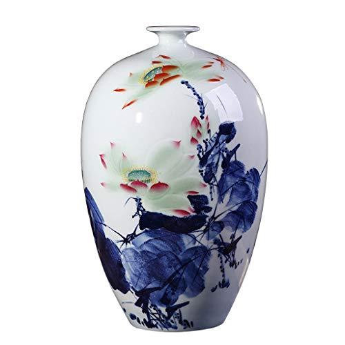 jinrun Blumenvasen Chinesische Blaue und weiße Porzellan-Vase, Handbemalte Große Bodenvase, Klassische Lotus-Muster, handgemachte Kunst, Blau (14,9 Zoll) dekorative Vase