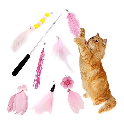 Eastlion 8 Stück Katzen Federspielzeug Teaser Zauberstab mit Glöckchen,Kätzchen Katzenspielzeug Interaktives Federwedel Spielzeug Set mit 7 Ersatz (Rosa)