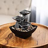 Pure Garden 50-LG5064 Tabletop Water Fountain-3 Tier, 7-Inch Raku Bowl Waterfall, River Rocks, Electric Pump and Soothing Sounds for Office and Home Décor