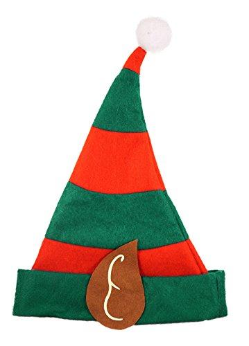 HENBRANDT Bambini Festive Elfo di natale cappello rosso e verde con le orecchie e Bobble