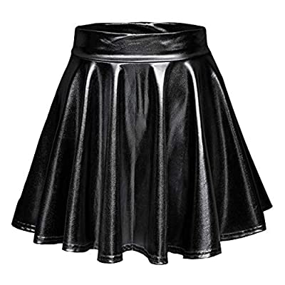 EXCHIC Women's Shiny Metallic Wet Look Stretchy Flared Mini Skater Skirt