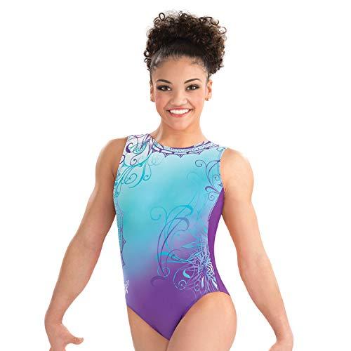 GK Laurie Hernandez Whirl of Wonder Gymnastics Leotard Ballet Dance Athletic One-Piece for Women & Girls,Blue,purple,Medium