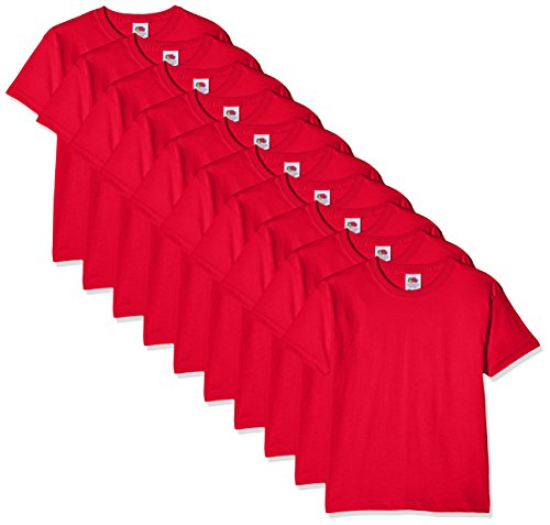 Fruit of the Loom Jungen Regular Fit T-Shirt Kids 10 Pack T-shirt, Rot (Red 41), 3-4 Y (Herstellergröße: 3-4 Y)