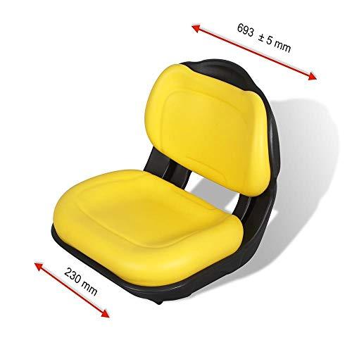 KLARA SEATS KS 4300 PVC klappbarer Sitz für Aufsitzmäher, Rasentraktor und Rasenmäher, wasserfest, gelb