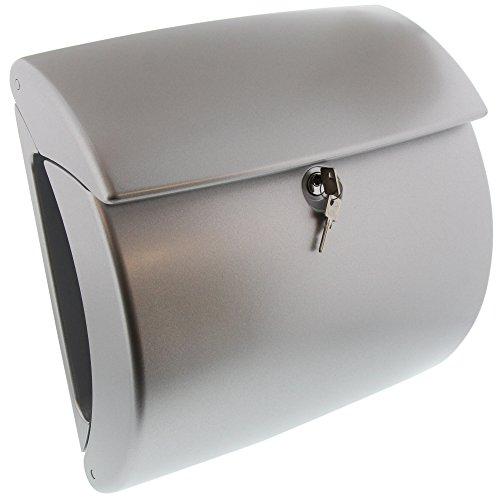 BURG-WÄCHTER Briefkasten mit Zeitungsfach ohne Namensschild, Hochwertiger Kunststoff, Einwurf-Format DIN C4, Inkl. 2 Schlüssel, Kiel 886 SI, Silber