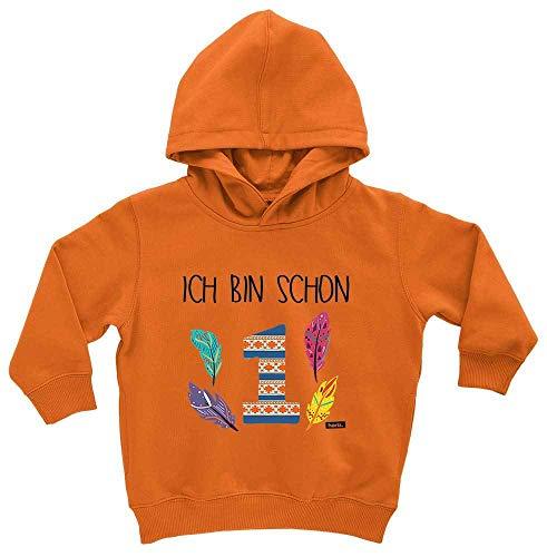 HARIZ HARIZ Baby Hoodie Ich Bin Schon Eins Indianer 1 Geburtstag Geschenkidee Plus Geschenkkarten Spielzeugauto Orange 1-2 Jahre