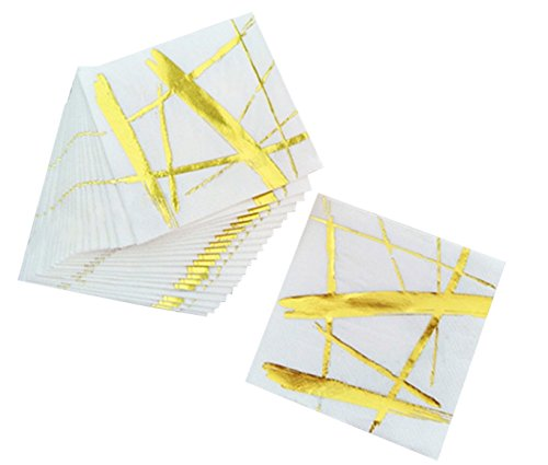 Gold and White Cocktail Paper Dinner / Party Napkins, 20 3-Ply Disposable Napkins, All Occasions